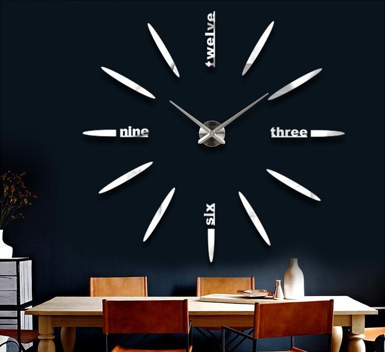 Novelty modern design home decorative 3D frameless large DIY wall clock