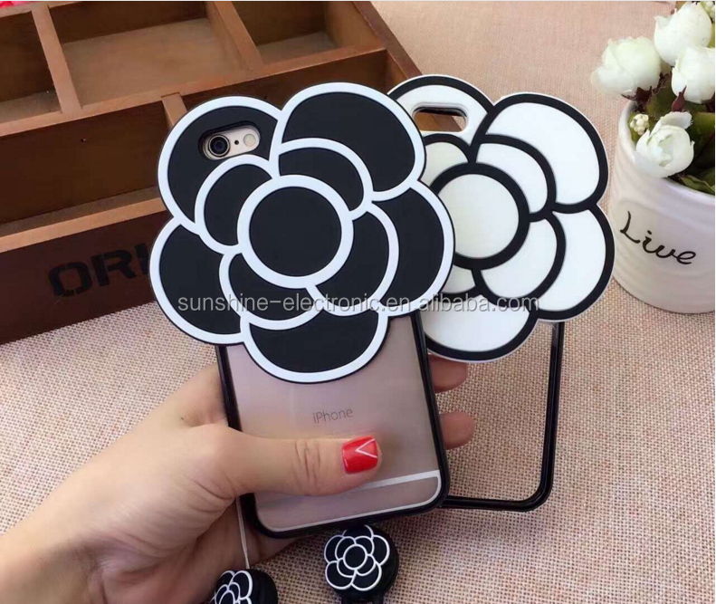 Soft CC Flower with Mirror 3D camellia plant Hard Phone Cases Back coque cover For iPhone 5 5s 6 6s 6Plus