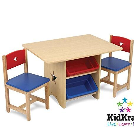 Solid Wood Table and 2 Chairs Set - Light Finish Furniture for Playroom
