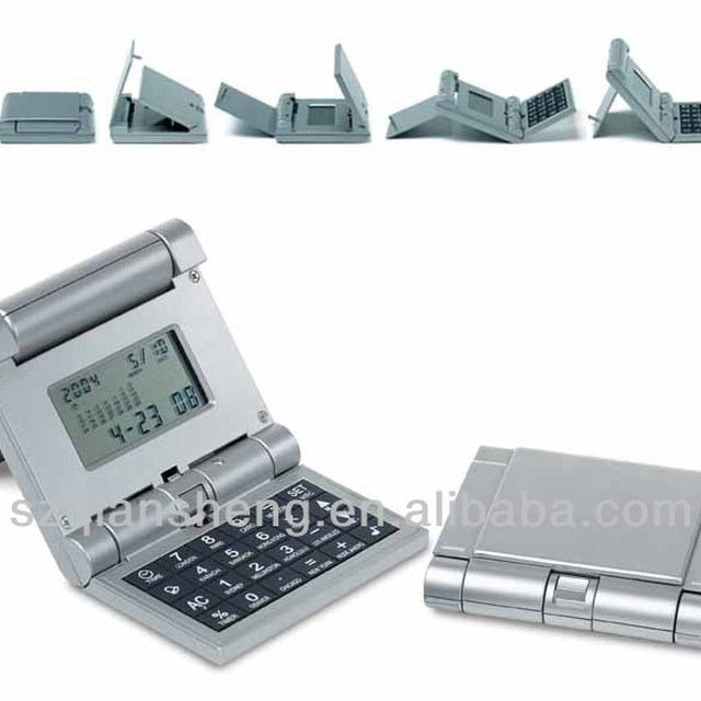 foldable electronic calendar calculator with timer alarm clock