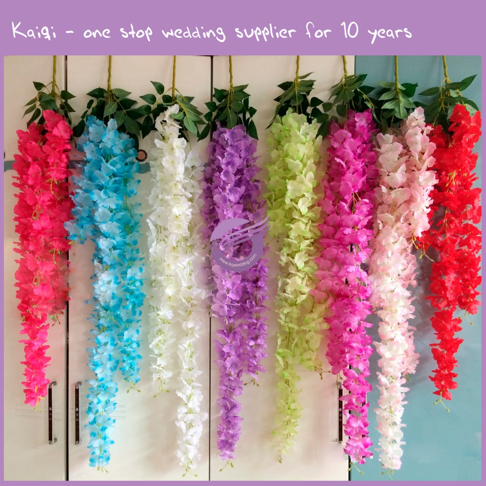 k7604 hot selling artificial cheap stand hydrangea hanging wedding Wisteria flower for car