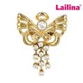 Gold-tone Beautiful Wings and Wishes Angel Nurse Pin Crystal Tassel Chain Brooch Pins Garment Accessories Jewelry Beooches
