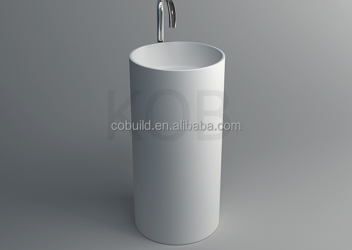 CK3001 China Wash Basin Price Engineered Solid Stone sink white freestanding wash basin