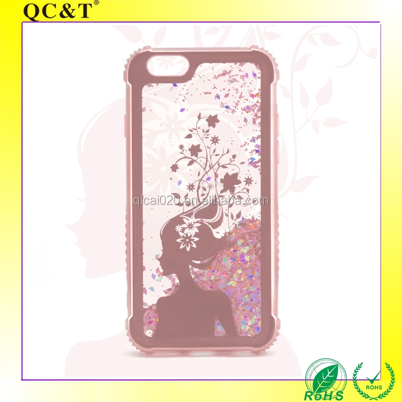 Shockproof Quicksand Plating Custom Pattern Tpu Cover Smartphone Case Mobile Phone Shell for iPhone 6 plus