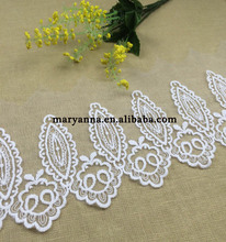Pure white embroidery lace curtain fabric
