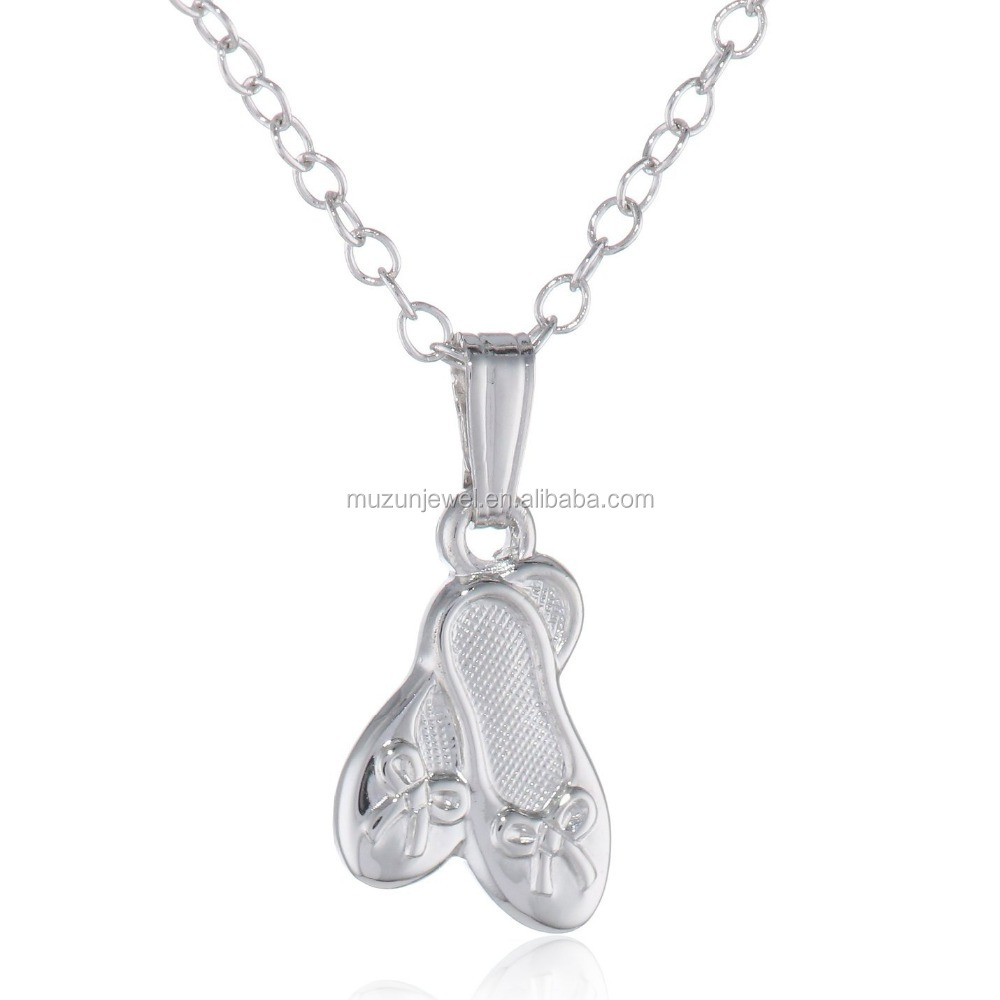 Solid 925 Sterling Silver Children's Ballet Slippers Pendant necklace