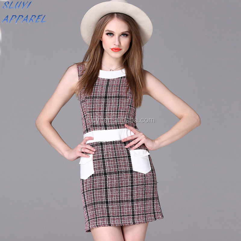 Vogue of new fund of 2017 European zipper party dress harness grid stripe dress mother and daughter matching dresses