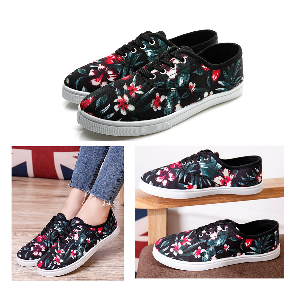 women casual shoes black flower printed canvas shoes for lady low price small moq