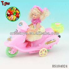 pull line girl motorcycle plastic toys with candy
