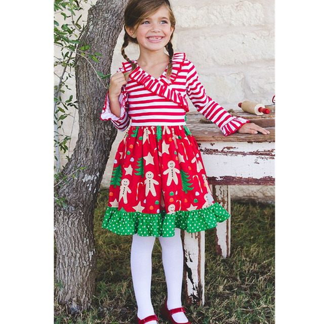 Wholesale toddler girls Christmas boutique dress baby ruffle outfits children christmas snowman ruffle dresses