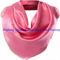 Pink fashion jacquard square silk scarf with solid color