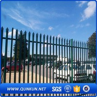 Spear Top Black Steel Fence Rail Fencing W Type Palisade Metal Fence