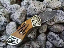 Doshower KD-1103 damascus steel blade handmade folding pocket knife, damascus laguiole kukri folding knife