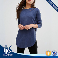 Guangzhou shandao factory casual o-neck long sleeve180g 100 % cotton fashion split tee wholesale