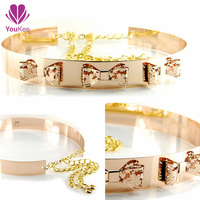 Metal gold plating belt for girls belts with bows fashion designs female chastity belt video