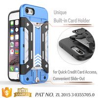 Hybrid tpu pc credit card holder bumper for iphone 7 crystal case