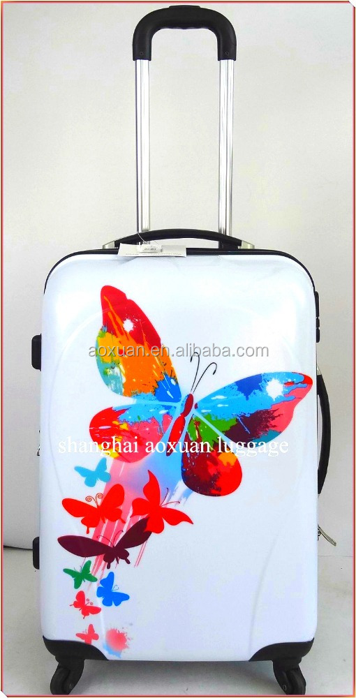 Newest PC/ABS hard shell butterfly print luggage case suitcase sets