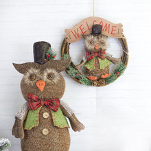Hot Sell Real Christmas Rattan Wreath Owl Garland