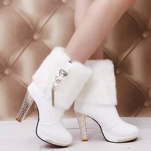 GN160626 High Quality Pointed Toe Block Heel Leather Ankle boots women shoes 2016 winter