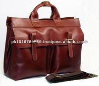 Genuine Leather Men's 15'' Laptop Case Briefcase Shoulder Messenger Bag