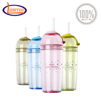 Plastic drinking water bottle with straw plastic water bottle