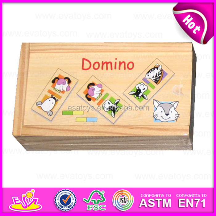 2015 Kids Funny Toys Animal Domino Set,Preschool teaching children wooden domino toy,Promotion cheap domino wooden toys W15A026