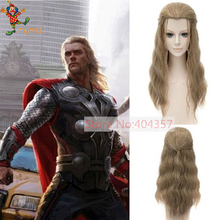 PGWG1370 New Movie Curly Hair Wigs Marvel The Avengers 2 Thor Odinson Long Brown Costume Cosplay Men Wig