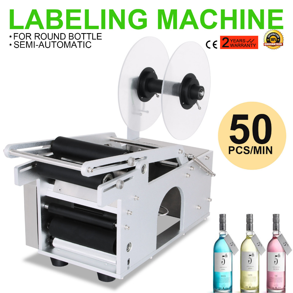 MT-50 Semi-Automatic Round Bottle Labeling Machine Economic Manual Labeler