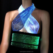 LED luminous clothing women top performance costume with fiber optical fabric
