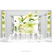 3D photo frame wallpaper nature yellow flower in the water wallpaper HD image designer home decor wallpaper