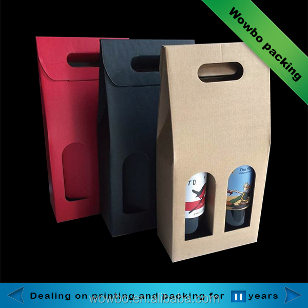 Double red wine bottles corrugated board bag with handle