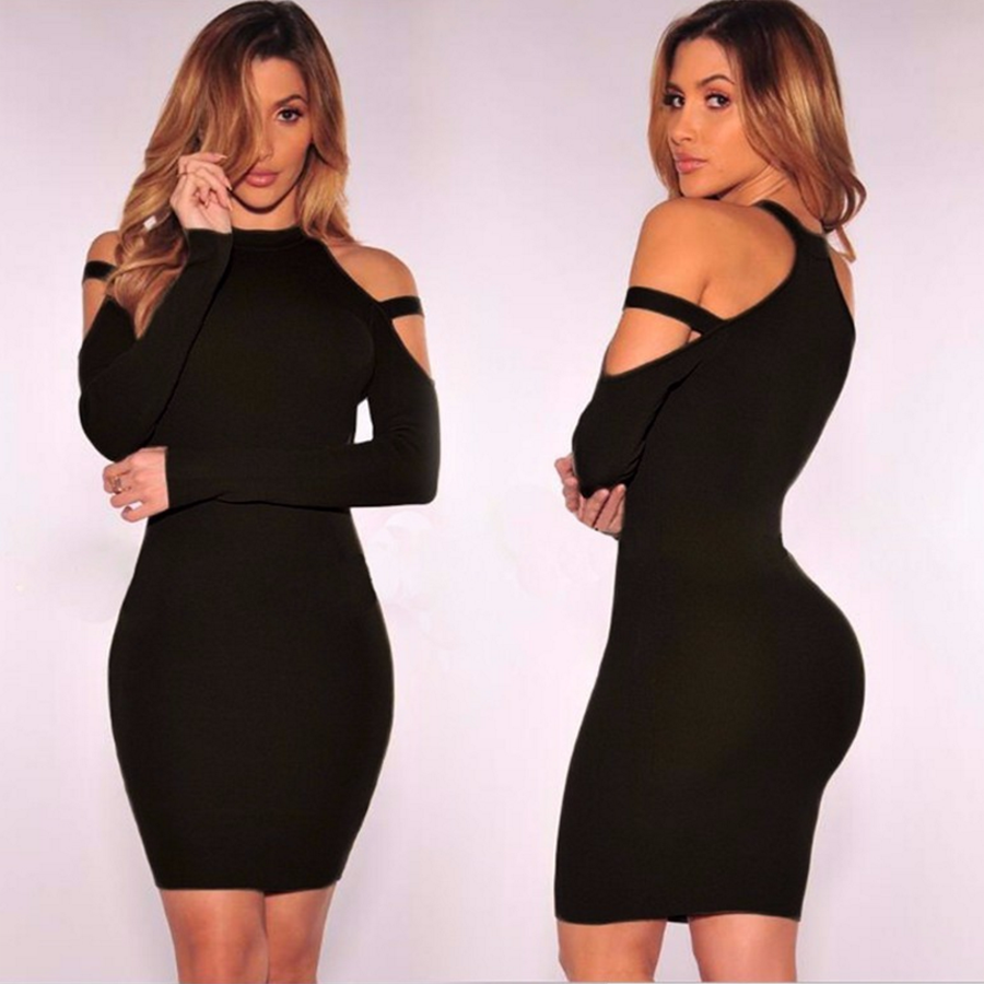 Fashion slim fit cold shoulder new design party club dresses sexy