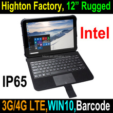 Highton Cheapest 12.2 inch 4+64G rugged tablet PC laptop , with NFC barcode scanner industrial embedded Vehicle computer