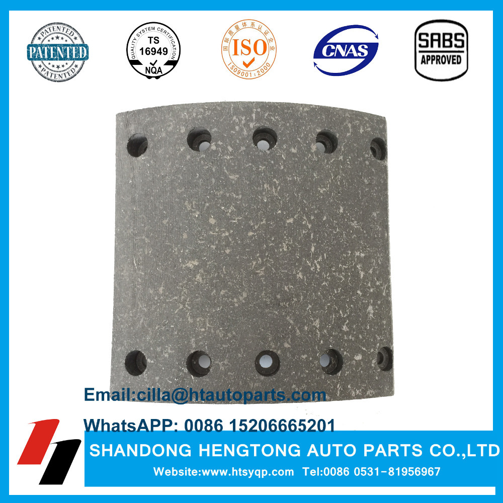 Heavy Duty Truck Chassis Parts WVA19094 Brake Lining with Rivets for BPW/SAF/DAF Trailer Spare Parts Brake Shoe Assembly OEM