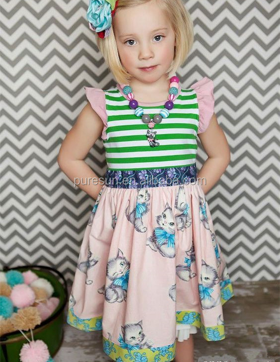Spring summer flutter sleeve baby boutique clothes kids wholesale cotton stripes fancy printing ruffle dress