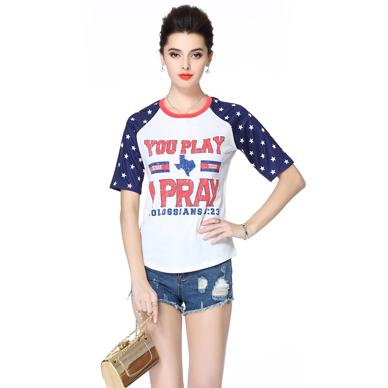 Hot Sales Fashion Summer Short Sleeve Letter Printing Pullover White Cotton Tshirt