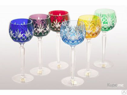Luxury colored crystal wine glasses consist of 6 pieces, 220 ml, 200 mm, IceFord Crystal Bohemia, Model: 007