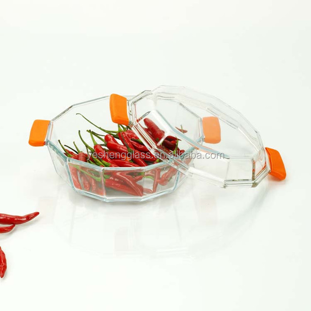 Popular round and polygon glass casserole with lid and silicone handle