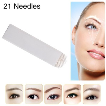 CHUSE A21 Permanent Eyebrow Makeup Manual Tattoo Curved Blades 21 Needles