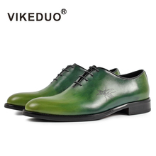 phoenix pattern green oxford dress shoe hand made shoes for men