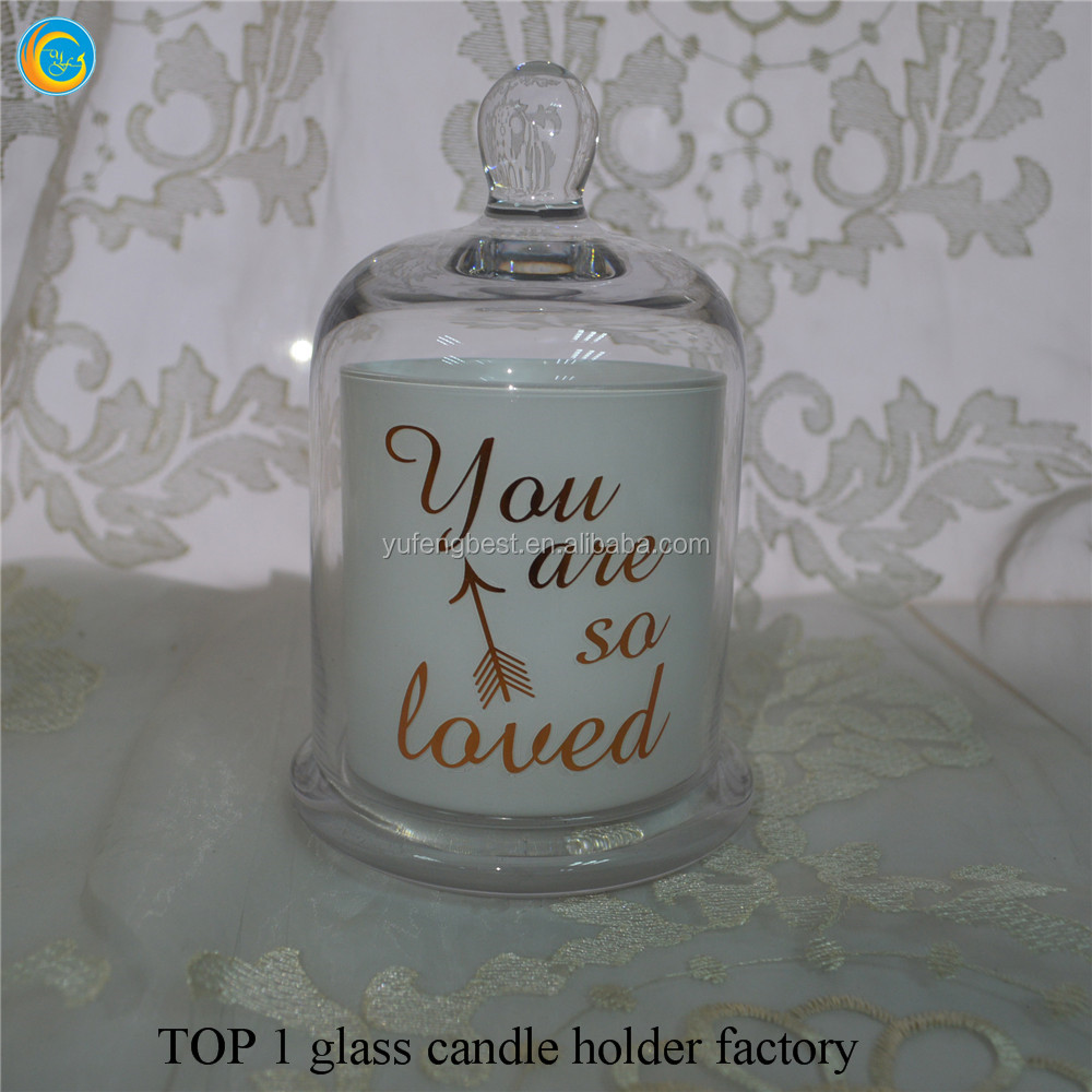 glass candle holder with domes cover