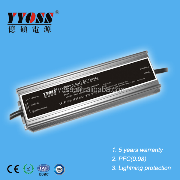 Constant voltage 100W 24V power supply with IP67 PFC(0.98)