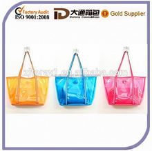2015 Hot Sale Colorful Plastic PVC Handbag Fashion Shoulder Transparent Tote Beach Bag