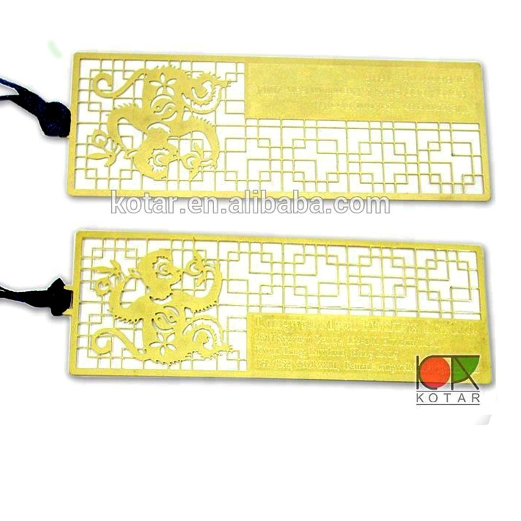 hot sale gold plating metal bookmark with ribbon