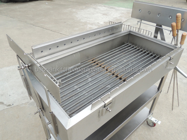 Stainless Steel Barbecue Fabrication Chicken BBQ Rotisserie Charcoal Grill Spit With Motor
