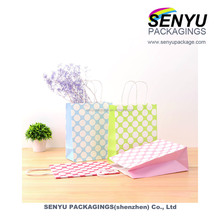 Small cheap christmas gift white craft paper shopping bags