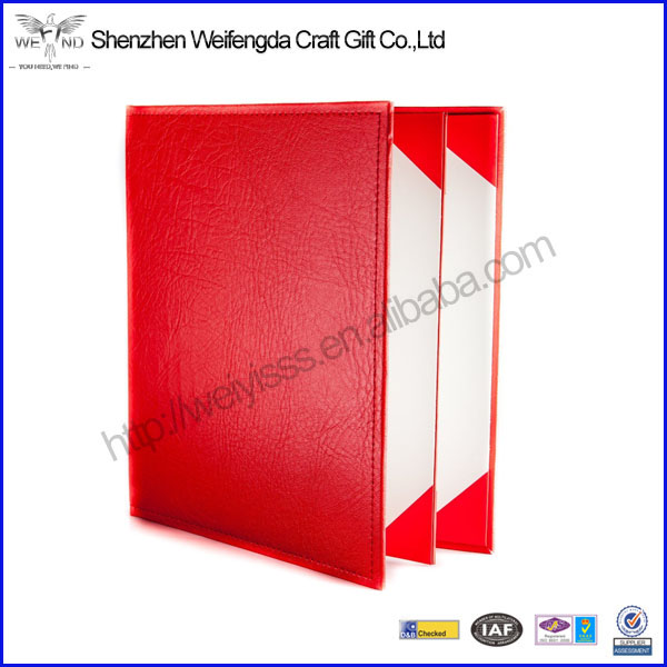 Best selling products in restaurants and hotels use quality leather menu cover with factory price