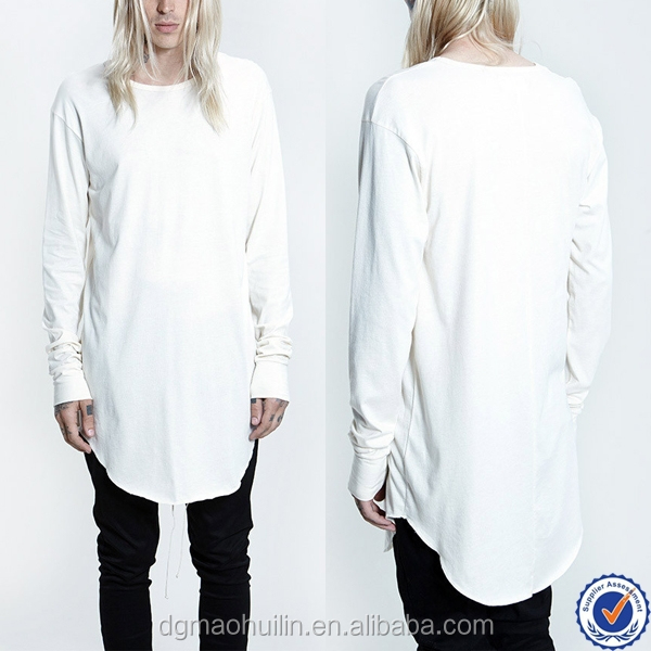 wholesale custom tall tee long sleeve white elongated longline t shirt