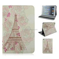 Tower Arround Flower Flip Stand PC+PU Leather Tablet Cover Case For Apple iPad 2/3/4,For ipad air,For ipad mini 1/2/3