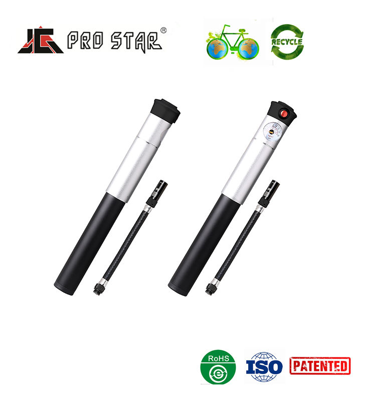 Good Quality Aluminum Dual Action Portable Bicycle hand air pump with Pressure Gauge HQ-34B